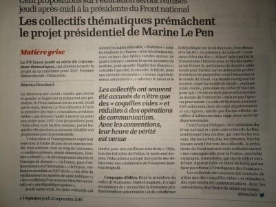 L'Opinion annonce les Conventions présidentielles de Marine Le Pen