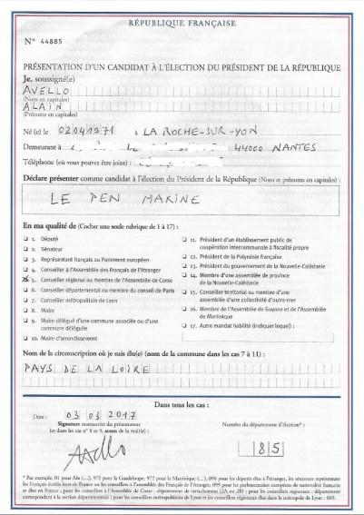 Parrainage de Marine Le Pen